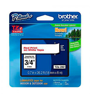 Brother TZE-242 Red on White 0.7 in. Laminated Tape (TZE242)