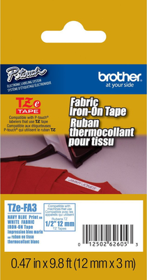 Brother TZe-FA3 Navy Blue on White 0.47 in. Fabric Iron-on Tape (TZEFA3)