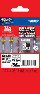 Brother TZe-S241 Black on White 0.7 in. Extra Strength Adhesive Tape (TZES241)