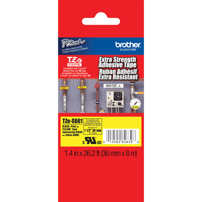 Brother TZe-S661 Black on Yellow 1.4 in. Extra Strength Adhesive Tape (TZES661)