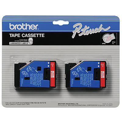 Brother TC-21 Red on White 0.47 in. 2-Pack Tape Cassette (TC21)