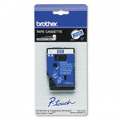 Brother TC64Z1 White on Blue 9mm (0.35 in.) Laminated Tape