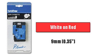 Brother TC54Z1 White on Red 9mm (0.35 in.) Laminated Tape