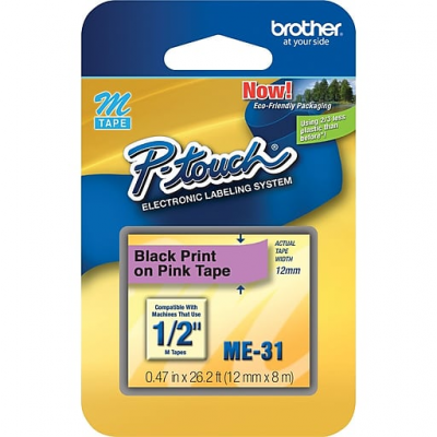 "Brother ME31 Black On Pink 1/2"" Tape (12mm)"