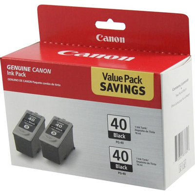 Canon 0615B013 Black 2-Pack Ink Cartridge (PG-40)