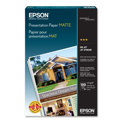 Epson S041070 Matte 11 in. x 17 ft. Presentation Paper