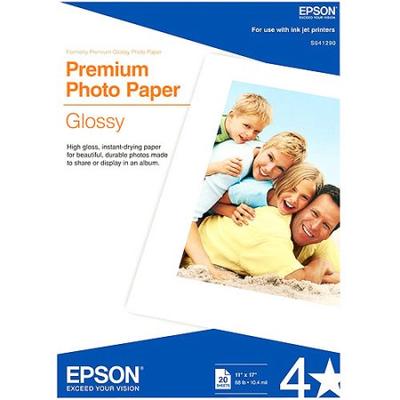 Epson S041290 Glossy 11 in. x 17 in. Premium Photo Paper