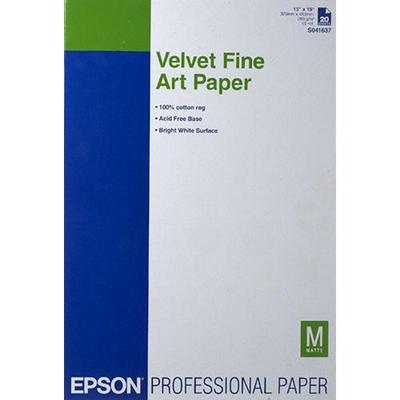 Epson S041637 13 in. x 19 in. Velvet Fine Art Paper