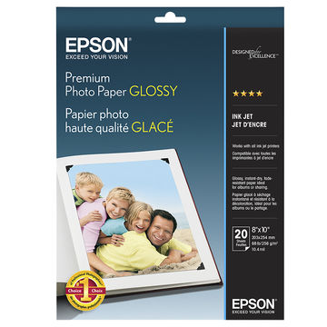 Epson S041465 Glossy 8 in. x 10 in. Premium Photo Paper
