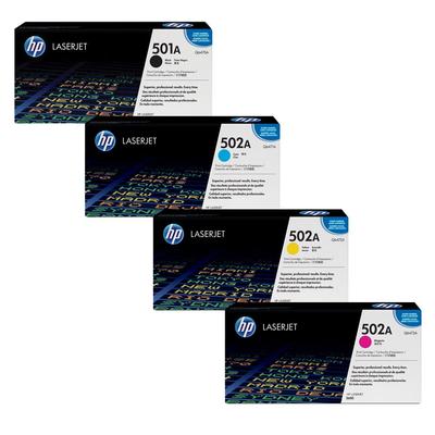 HP Q647#A Cyan, Magenta, Yellow, Black Toner Cartridge Multipack (501A/502A)