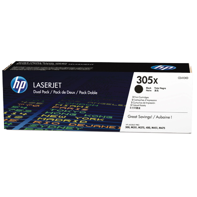 HP CE410XD Black 2-Pack Toner Cartridge (305X)