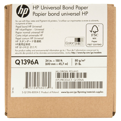 HP Q1396A White 24 in. x 150 ft. Universal Bond Paper