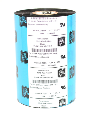 "Zebra 05319BK11045 Ribbon Wax (4.33"" x 1476') (1"" Core)"