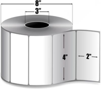 "Zebra 10003051 Label Paper (4"" x 2"") (3"" Core)"