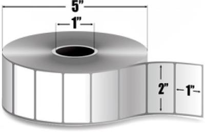 "Zebra 10010028 Label Paper (2"" x 1"") (1"" Core)"