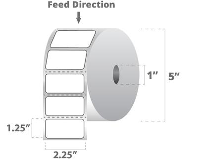 "Zebra 10015781 Label Paper (2.25"" x 1.25"") (1"" Core)"