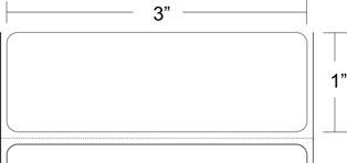 "Zebra 10015782 Label Paper (3"" x 1"") (1"" Core)"