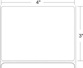 "Zebra 10018349 Label Paper (4"" x 3"") (3"" Core)"