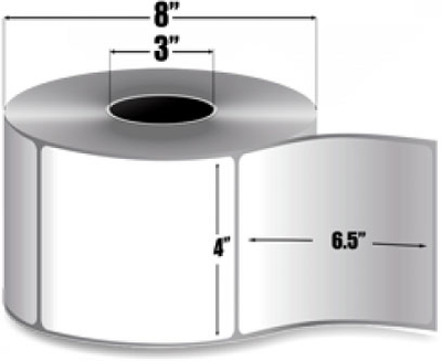 "Zebra 10000280 Label Paper (4"" x 6.5"") (3"" Core)"