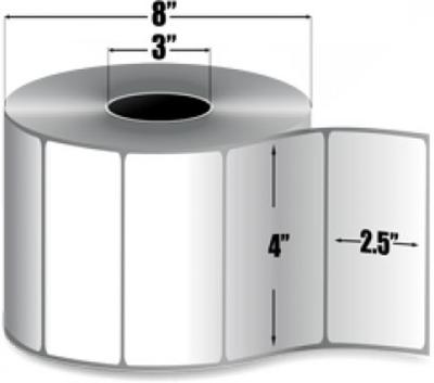 "Zebra 10000294 Label Paper (4"" x 2.5"") (3"" Core)"