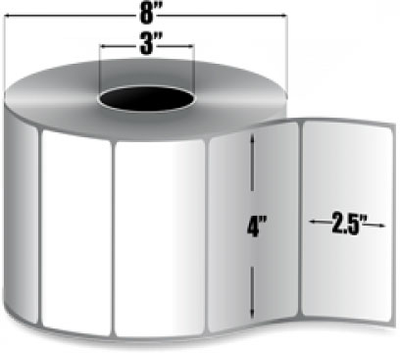 "Zebra 10002627 Label Polyester (4"" x 2.5"") (3"" Core)"