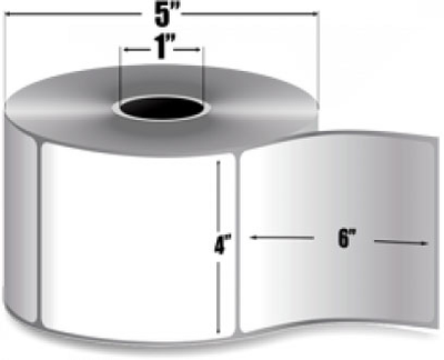 "Zebra 10005849 Label Paper (4"" x 6"") (1"" Core)"