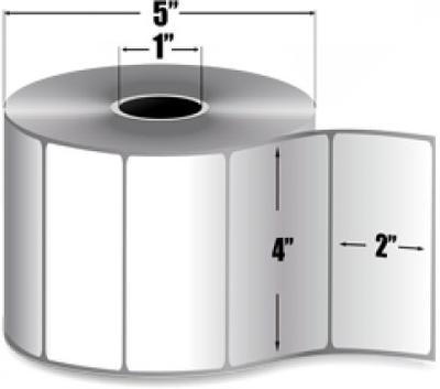 "Zebra 10005851 Label Paper (4"" x 2"") (1"" Core)"