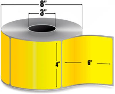"Zebra 10006208-1 Yellow Label Paper (4"" x 6"") (3"" Core)"