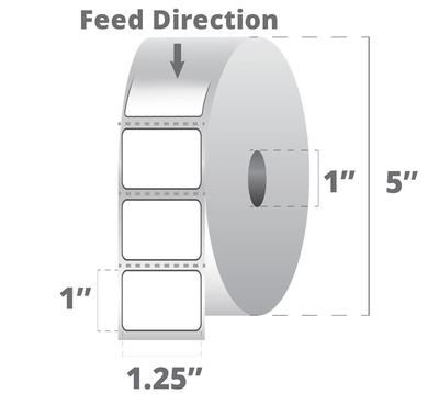 "Zebra 10009523 Label Paper (1.25"" x 1"") (1"" Core)"