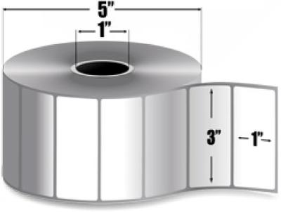 "Zebra 10009528 Label Paper (3"" x 1"") (1"" Core)"