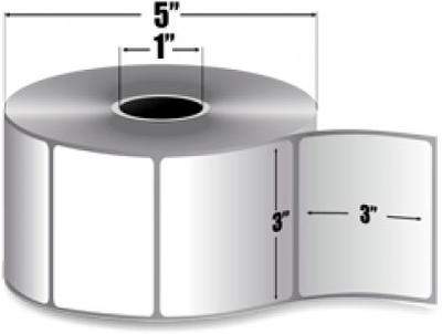 "Zebra 10010030 Label Paper (3"" x 3"") (1"" Core)"