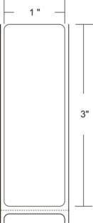 "Zebra 10010036 Label Paper (1"" x 3"") (1"" Core)"