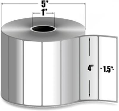 "Zebra 10010046 Label Paper (4"" x 1.5"") (1"" Core)"