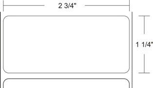 "Zebra 10011701 Label Polyester (2.75"" x 1.25"") (3"" Core)"