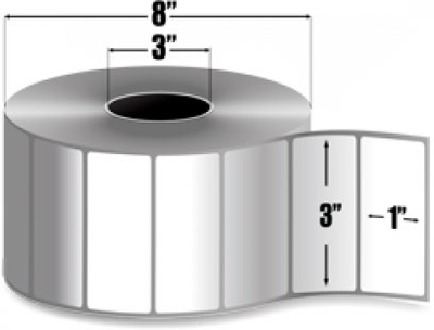"Zebra 10011702 Label Polyester (3"" x 1"") (3"" Core)"
